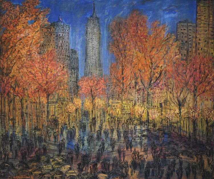 "New York New York Opus 777 , Oil on Canvas, 60"" x 72"".  New York on a bight fall day with crowds in the foreground, trees and cityscape in the background. Blue, orange and yellow colors."