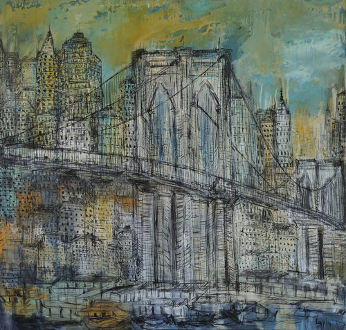 "Brooklyn Bridge Opus 18 , Oil on Canvas, 42""x44"".  The Brooklyn Bridge in teal blue, green, yellow and orange colors."