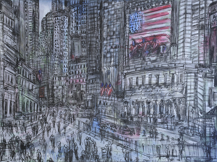 "New York Stock Exchange Opus 119 , Oil on Canvas, 36""x48"".  The grandeur strength of the New York Stock Exchange in predominantly black and white with a touch of red and blue."
