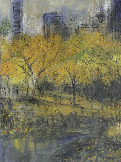 "New York Central Park Opus 18 , Oil on Canvas, 48""x36"".  Dreamy fall day in Central Park. Colors, light green, yellow, orange and beige."