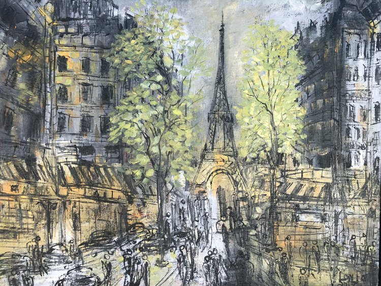 "Paris opus 770 , Oil on Linen, 15""x15"".  Paris scene with grey, light green and yellow colors. crowds on the foreground with eiffel tower, trees, buildings on the background with pencil-like strokes."