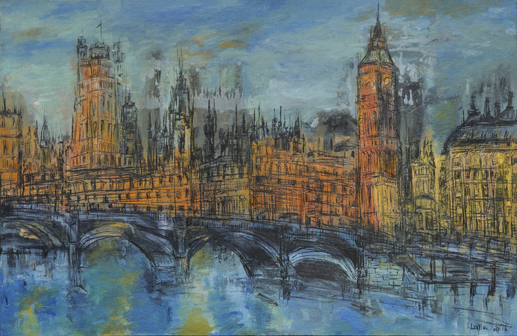 "London Opus 2017 , Oil on Canvas, 30"" x 46"".  London scene with river, bridges, and buildings. colors predominantly blue and orange."