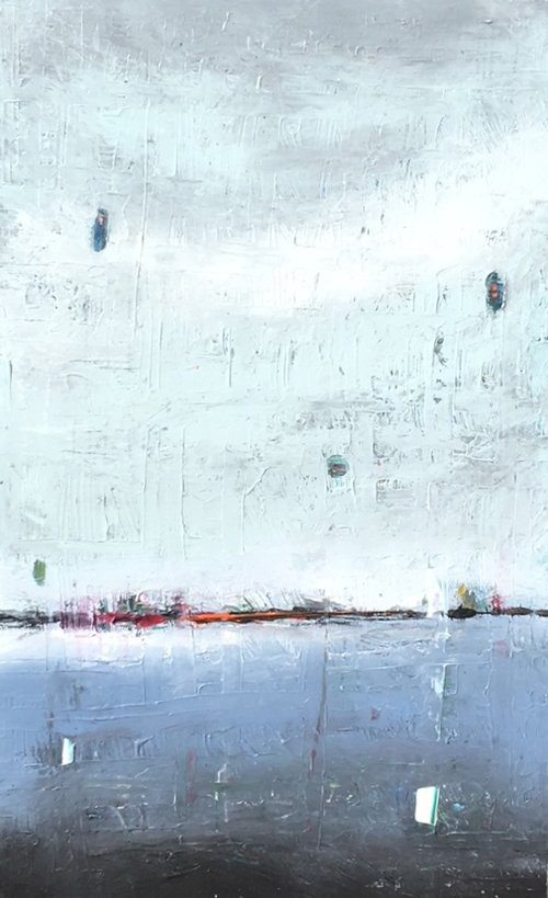 """A Ships Tale, 2017 , Mixed Media on Canvas, 30"""" x 48"""".  Colorfield vertical abstract seascape dark blue foreground white and turquoise sky."""