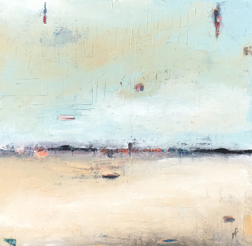 """Just What I Thought , 2017, Oil on Canvas, 40"""" x 40"""".  Colorfield vertical abstract landscape foreground white and beige , sky turquoise and gray"""
