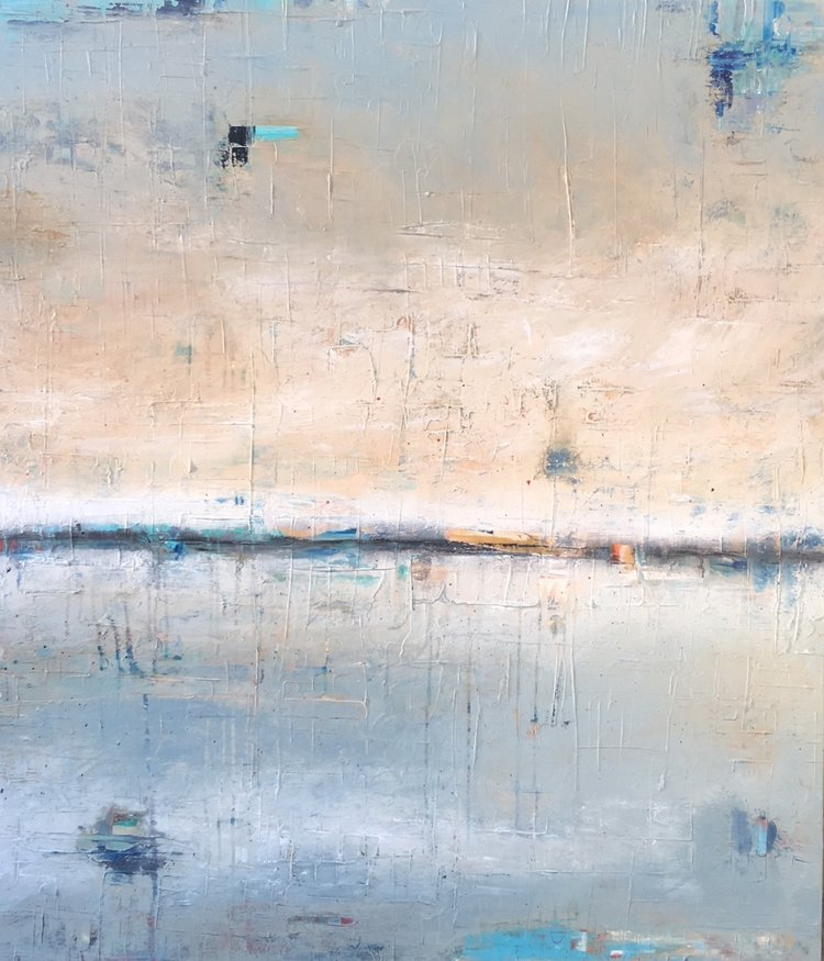 """Winter Blues , 2017, Mixed Media on Canvas, 52"""" x 45"""".  Colorfield vertical abstract seascape with land and orange sky on the horizon."""