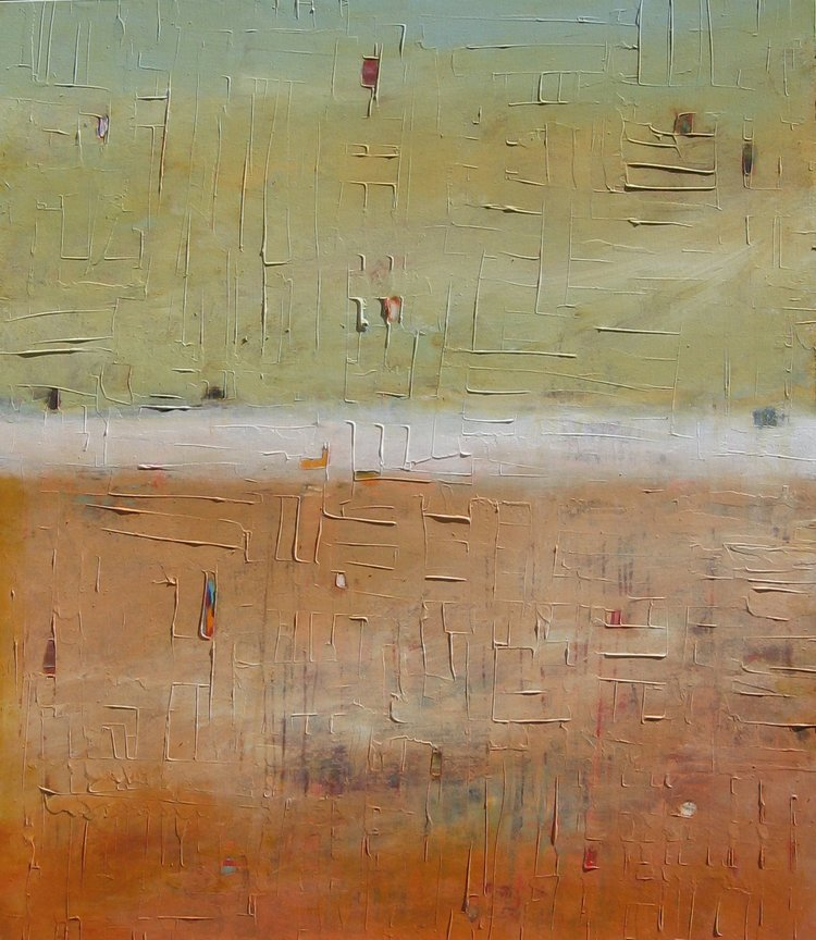 """Spring Garden , 2015, Mixed Media on Canvas, 52"""" x 45"""".  Colorfield vertical abstract landscape foreground orange with yellow green horizon."""