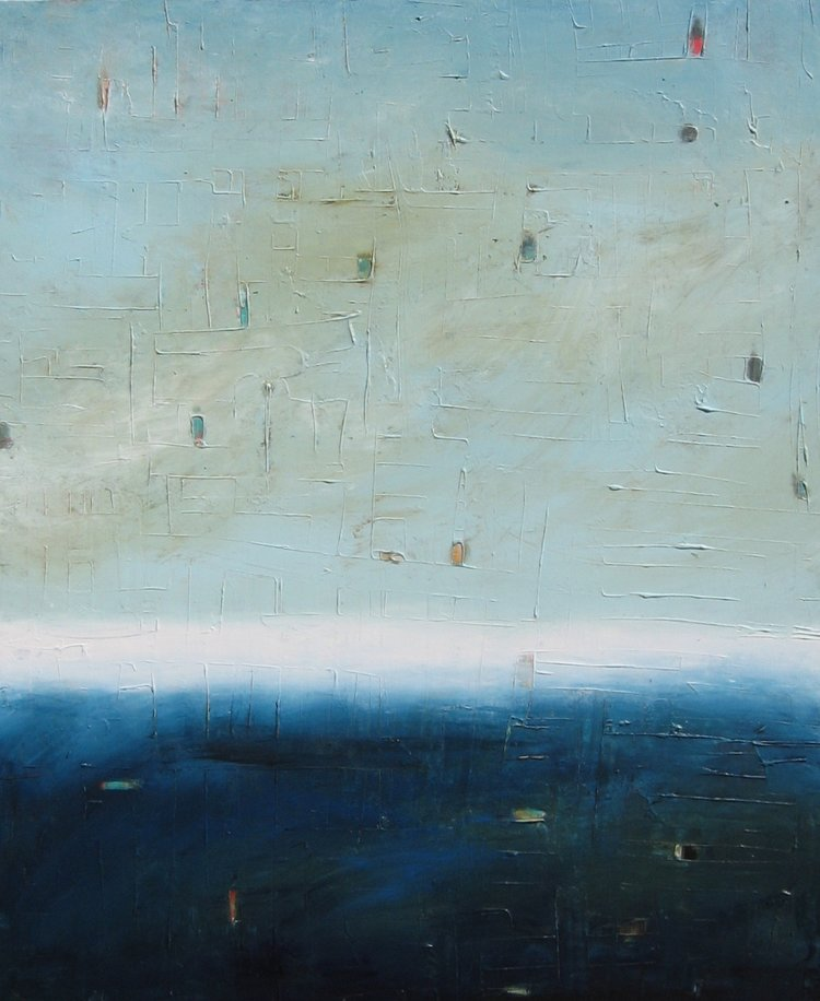 """The Deep , 2015, Mixed Media on Canvas, 64"""" x 44""""  Colorfield vertical abstract seascape deep dark blue foreground and blue, green, white horizon."""