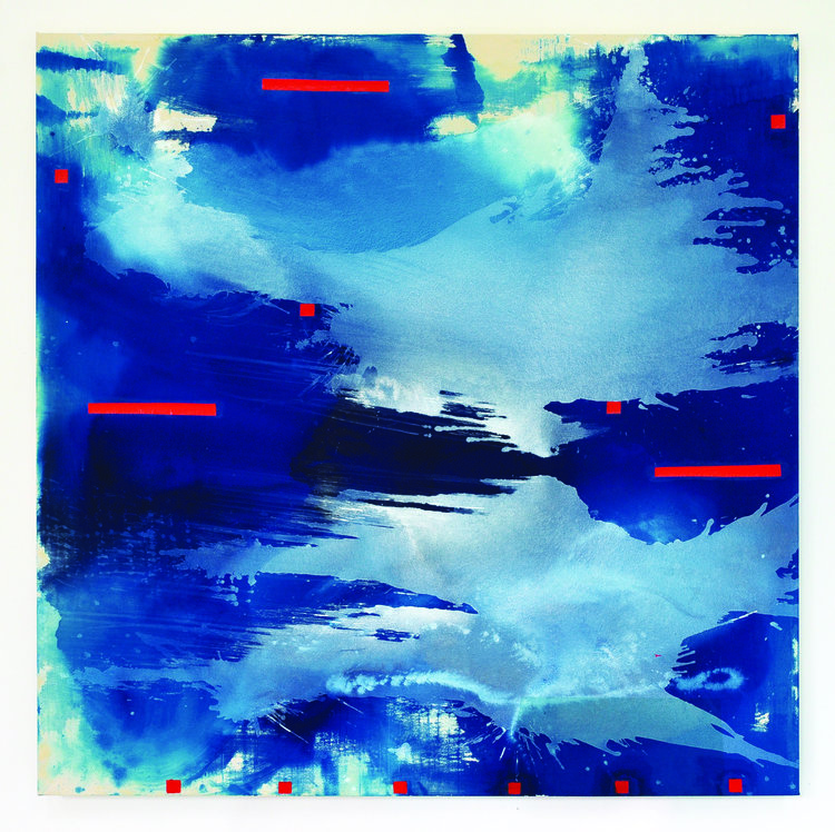 """Blue Crystals Revisited No.8 ,2018,Acrylic Ink, Acrylic Paint, Mica Powder, Painted Collage on Canvas, 72"""" x 72"""".  Light and dark blue cloud-like surfaces cover the canvas with occasional red rectangles throughout."""