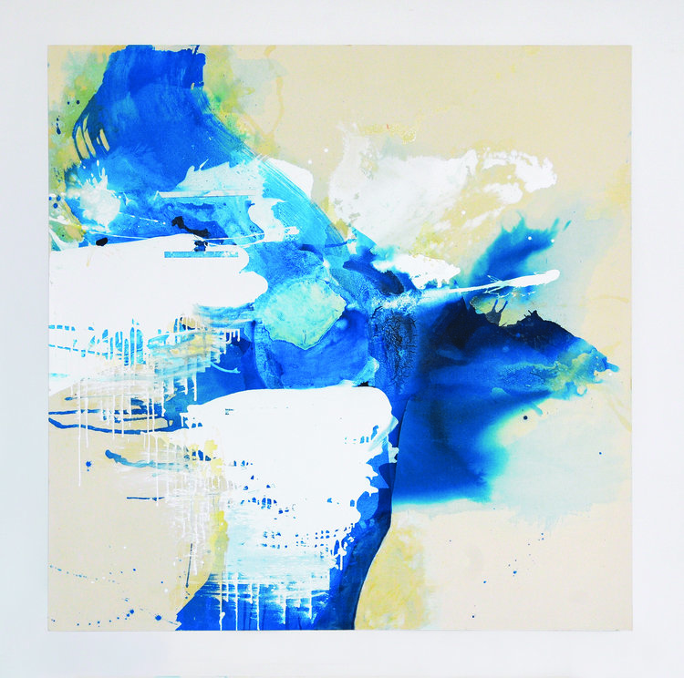 """Blue Crystals Revisited No.1 , 2017, Acrylic Ink, Acrylic Paint, Mica Powder, Shellac on Canvas, 72"""" x 72"""".  acrylic inks creating bleeds and pools of sapphire blues juxtaposed with white billowy shapes."""