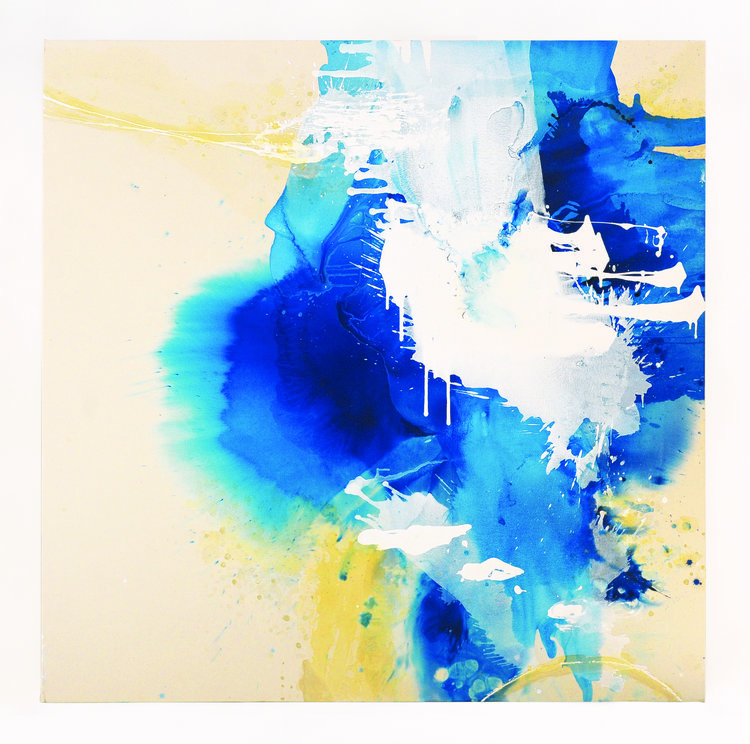 """Blue Crystals Revisited No.4 , 2017, Acrylic Ink, Acrylic Paint, Mica Powder, Shellac on Canvas, 72"""" x 72"""".  Deep sapphire blues bleed into the surface as white glacial-like formations descend downward upon it."""
