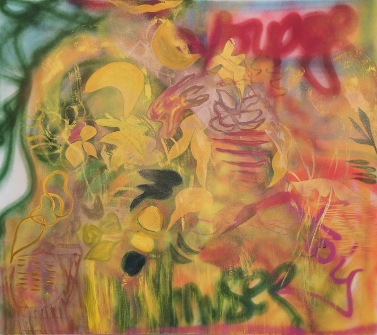 "Brazen,  2016, Spray Paint and Oil on Canvas, 46"" x 54""  Leaf-like and graffiti-like landscape based abstraction painting. Yellow, green, red colors dominating with spray paint."