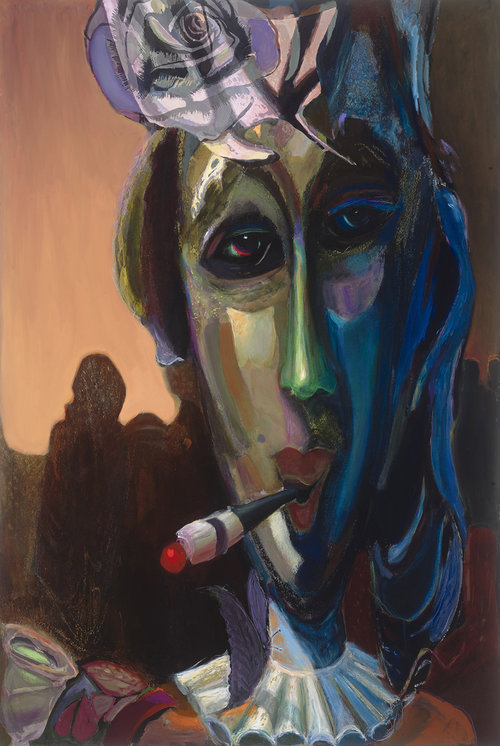"""Night's Flight , 2014, Acrylic on Canvas, 60"""" x 39"""".  Abstract portraiture of a Parisian woman smoking a cigarette. Blue, green, yellow on the face with brownish orange background."""