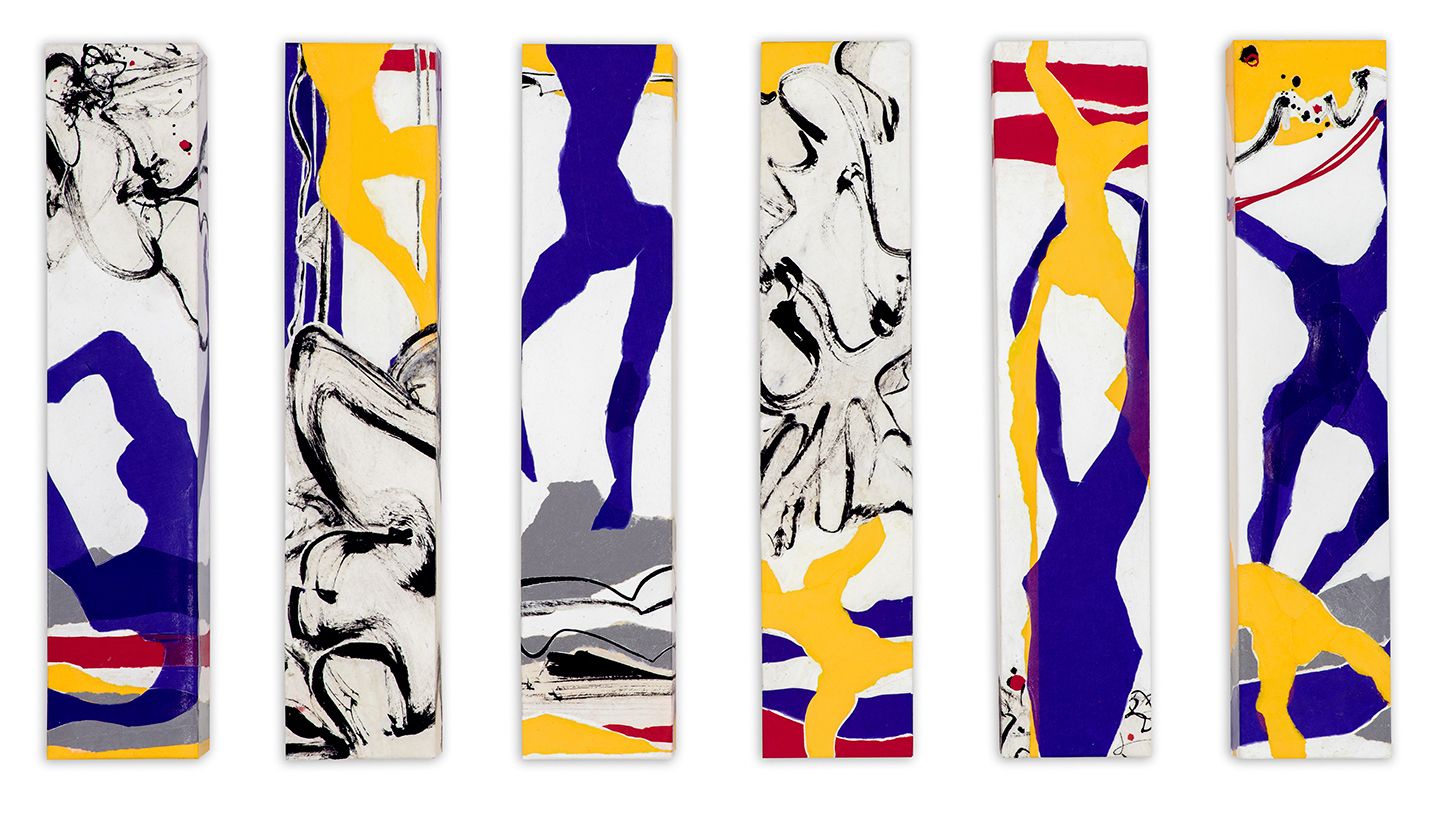 """Myth , 2017, Ink and Art papers on Canvas, 24"""" × 5"""" × 3"""".  6 small panels of abstract yellow and blue figures and ink drawings of water."""