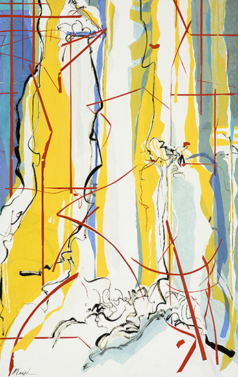 """Falls , 2016, Ink and art papers on canvas, 60"""" x 38"""".  Large abstract waterfall in yellow and blue behind a broken red grid."""