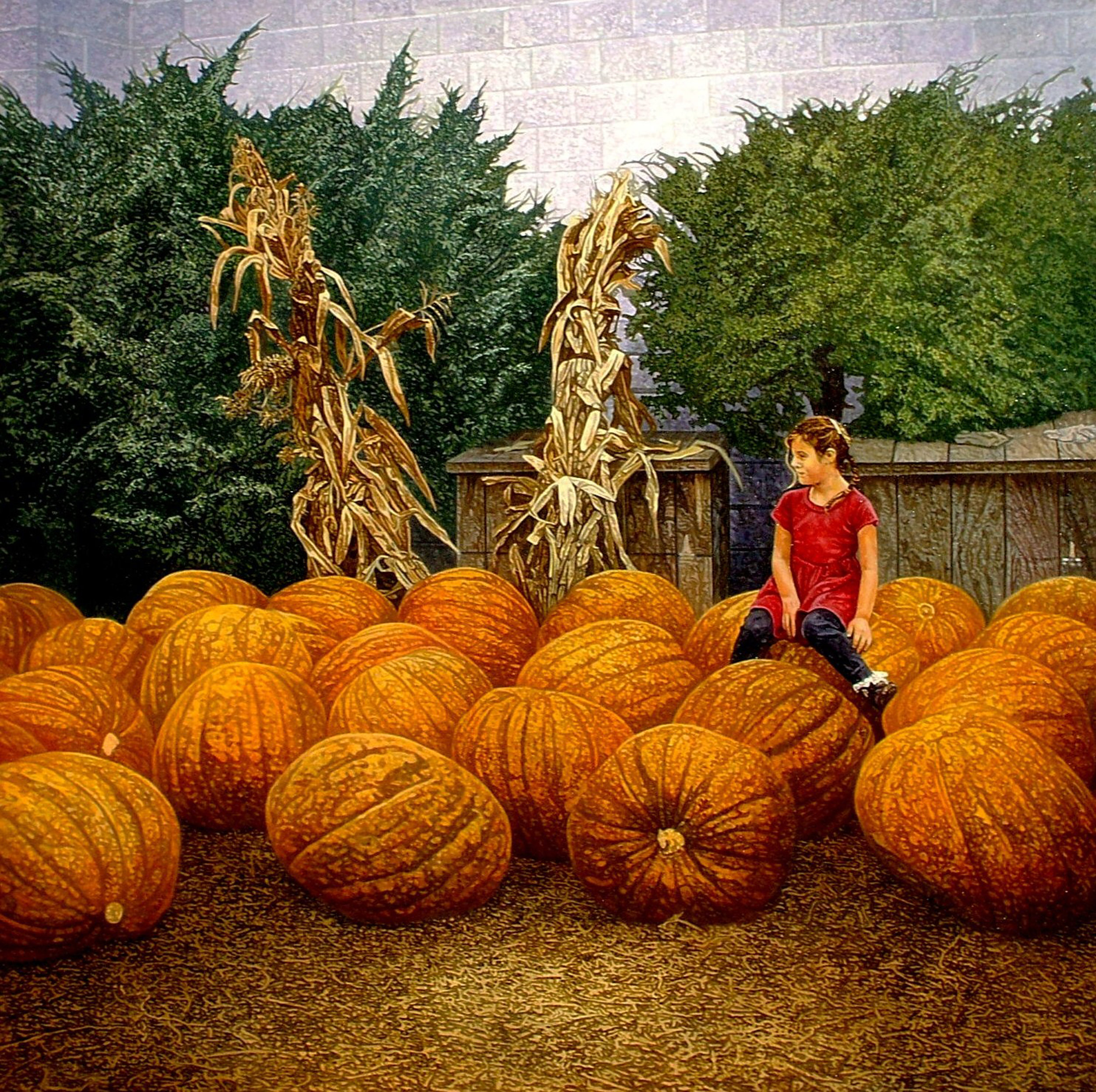"Pumpkin Rider,  2010, Oil on canvas, 36"" x 36"".  A girl-child is balanced on a huge pumpkin in a field of hay and other large pumpkins."