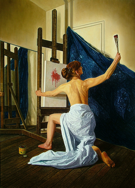"The Muse of Painting , 24"" x 30"".  A semi-nude woman in a classical Greek pose flings paint to a canvas on an easel."