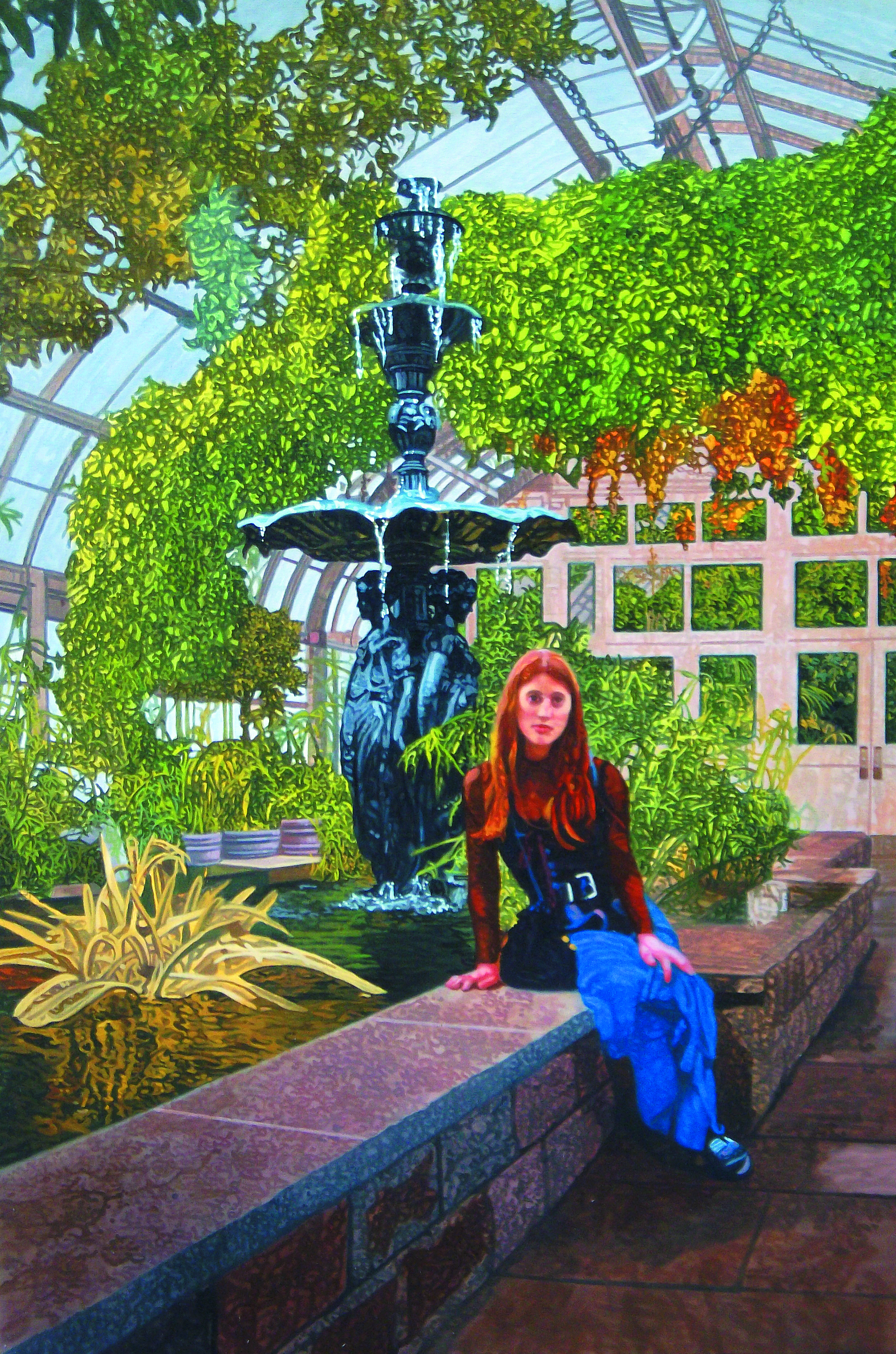 "Eve in the Garden #2 , 2016, Oil on Canvas, 36"" x 24"".  A young woman sits on the concrete edge of a fountain in a greenhouse, surrounded by leaves and flowers."