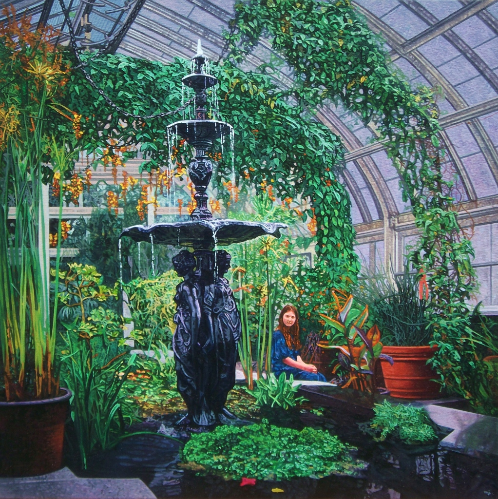 "Green Cathedrals , Oil on canvas, 20"" x 20"", 2013.  A girl-child sits on the edge of a pool of water in a huge greenhouse chamber."