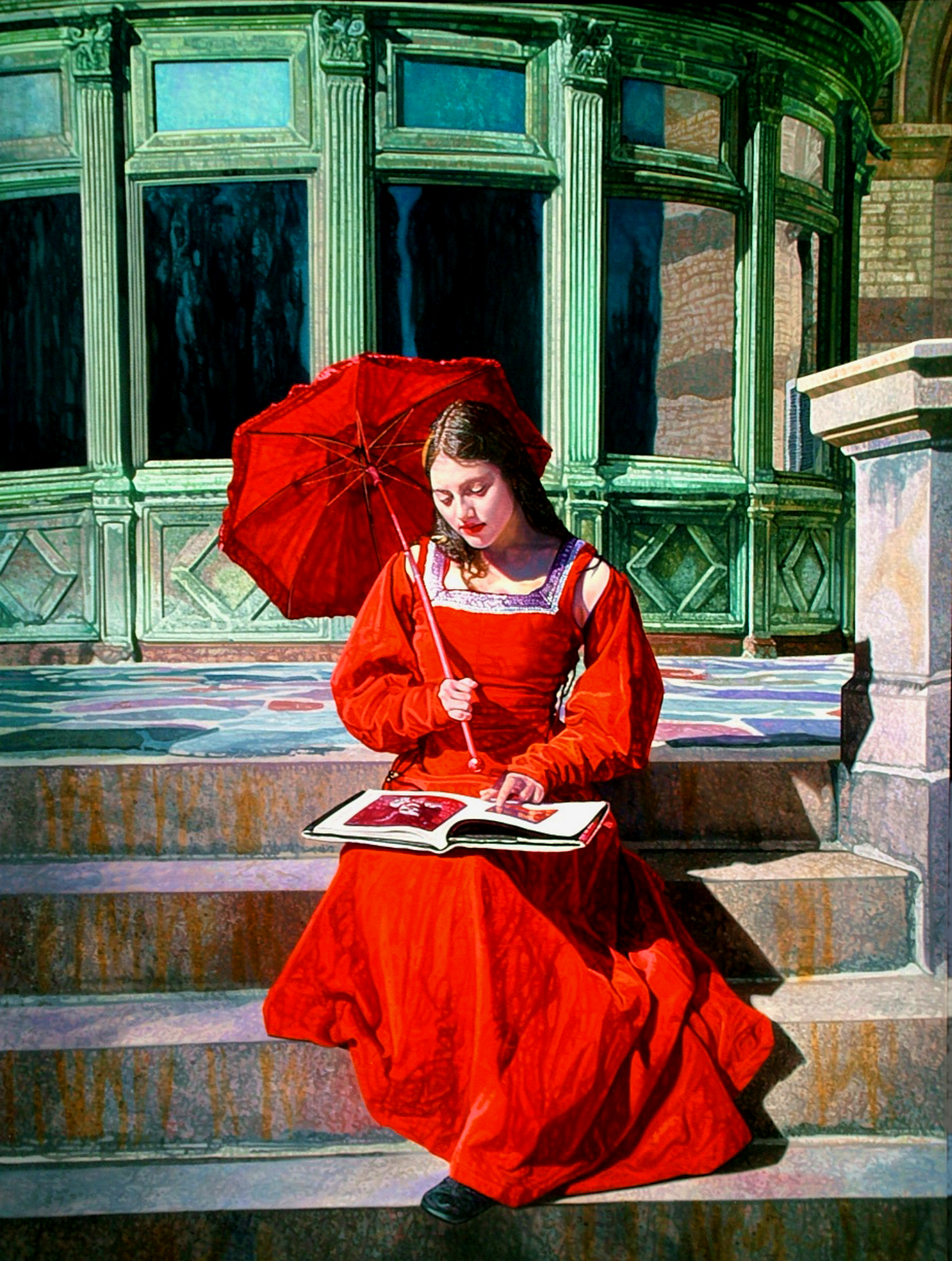 "Red #1 , 2008, Oil on Canvas, 40"" x 30"".  A young woman in a bright red outfit sits on an ornate staircase looking at a book."