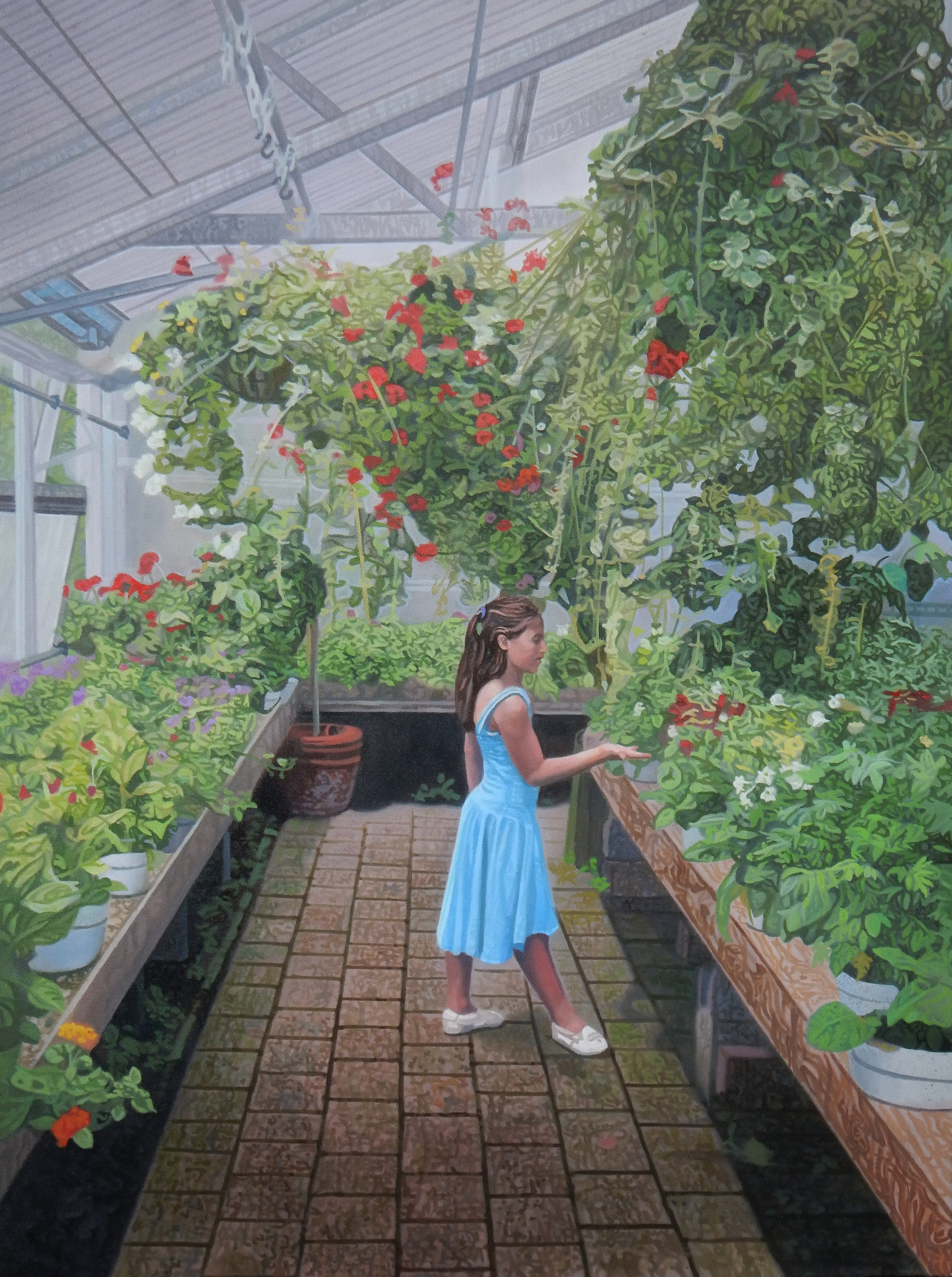 "Eve in the Garden , 2018, Oil on Canvas, 30"" x 40"".  A girl-child in blue stands in a greenhouse surrounded by hundreds of leaves, and she reaches out to touch one."