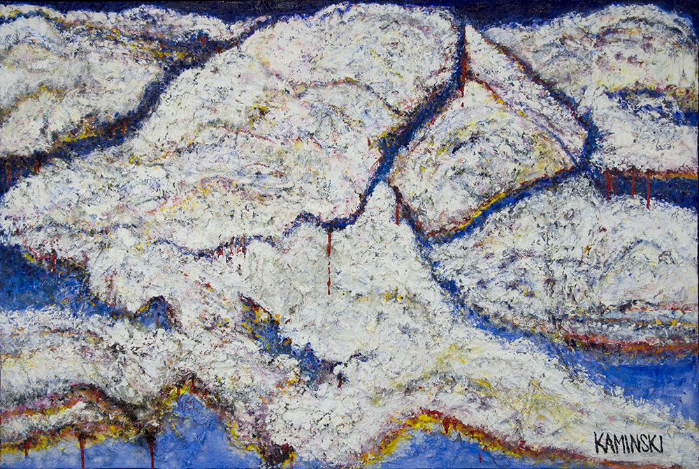 "Cave Creek Clouds #1,  2017, Oil on Panel, 50"" x 74"".  Heavily textured horizontal abstraction of white clouds with slight blue background."
