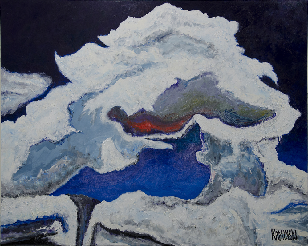 "Cave Creek Clouds #3,  2017, Oil on Canvas, 80""x102"".  White abstract clouds with black background"