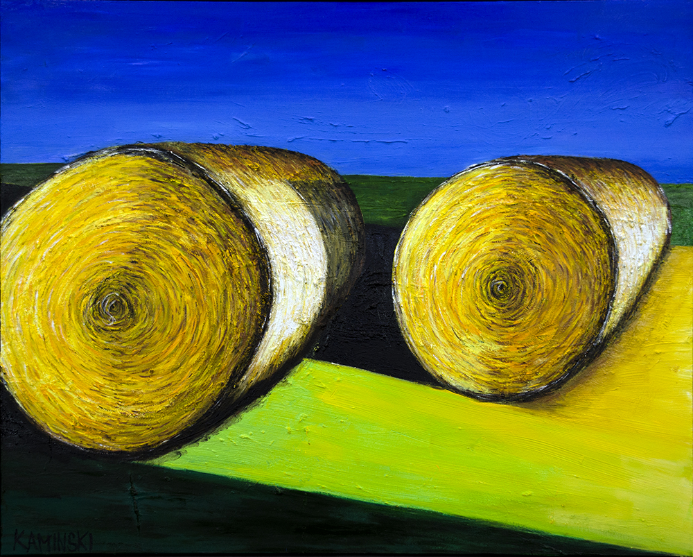 "New Jersey Hay Stacks #2 , 2017, Oil on Canvas, 50"" x 62"".  Abstract landscape yellow rolled hay stacks with blue sky background"