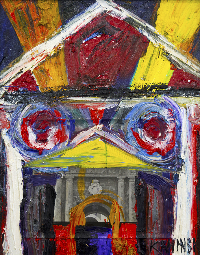"Coat of Arms , 2017, Oil on Canvas with B&W Photo attached, 26"" x 21"".  Abstract painting of a building in bold yellow, red, white, blue brushstrokes in blue background with collages of a picture of a building"