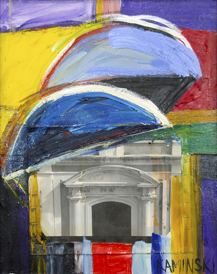 "Arches , 2017, Oil on Canvas with B&W Photo attached, 26"" x 21"".  Abstract painting of an arched building with bold yellow, blue, red, purple, green brushstrokes and collages of a photograph of a building"