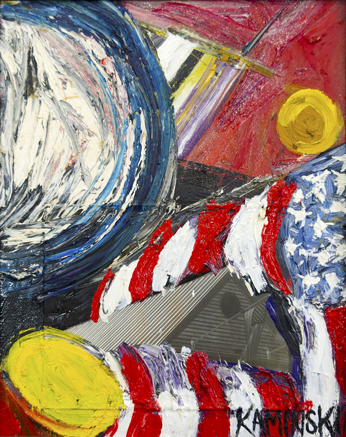 "Flag , 2017, Oil on Canvas with B&W Photo attached. 26"" x 21"".  Abstract painting of an American flag with bold bluek white, red, yellow brushstrokes in a red background and collages of houses"