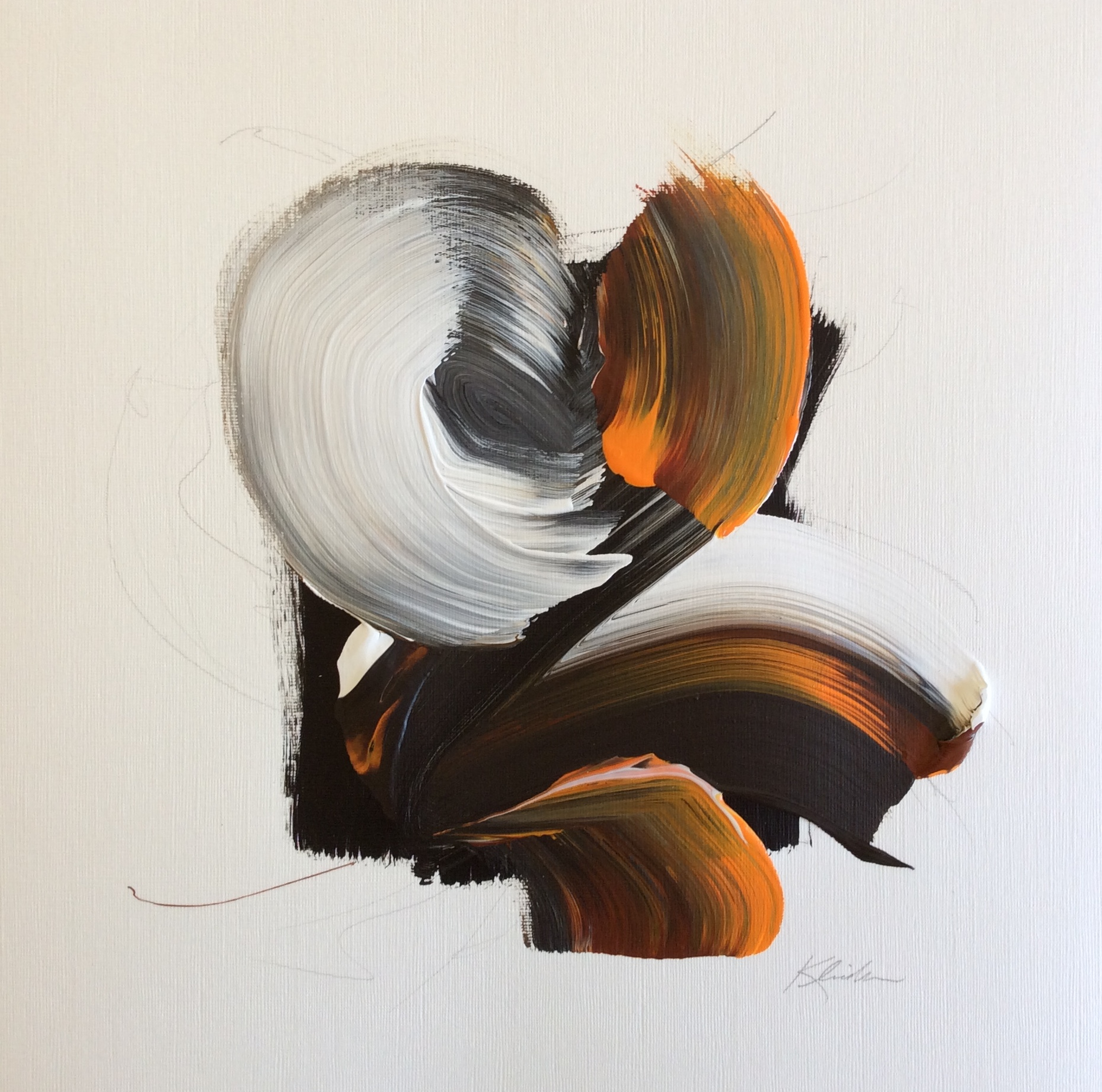 """Force 5 Series 1.1 , 2013, Acrylic and Graphite on Strathmore Paper, 20""""x 20"""".  Brush strokes in white orange and black on an irregular black background with black graphite lines."""