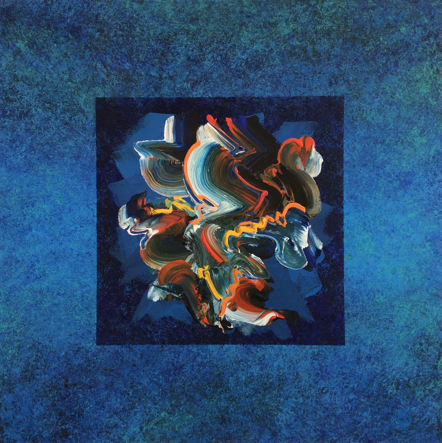 """Taliesin Dawn , 2016, Acrylic on Canvas, 36""""x 36"""".  One integrated swirling shape in white, black, blue, yellow and orange on a blue textured background."""