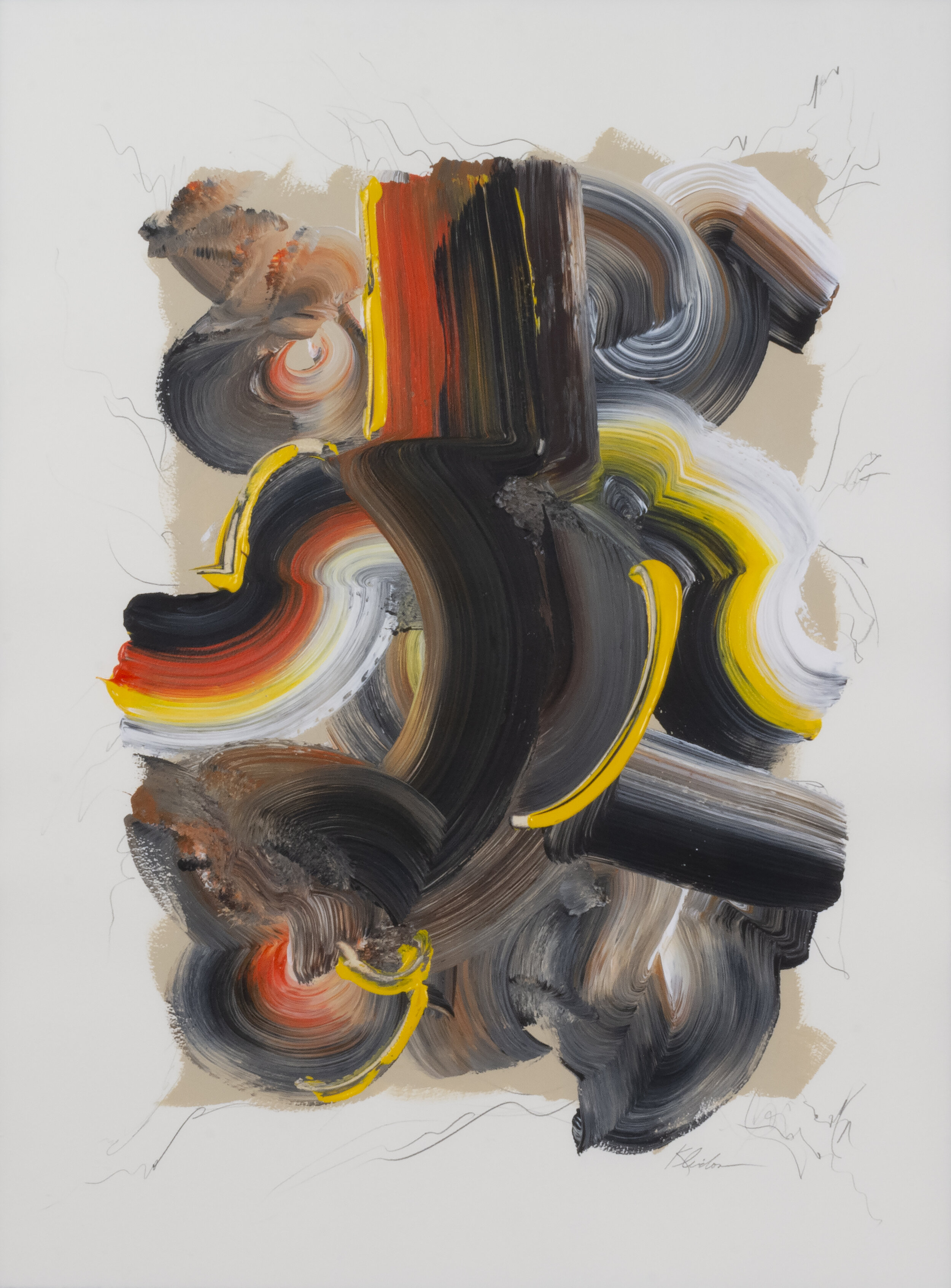"""Making Waves Vertical Series 1.5 , 2014, Acrylic and Graphite on Arches Paper, 39.5"""" x 31.5"""".  Swirling brushstrokes in black, white, orange, yellow and grey on white with graphite pencil edge."""