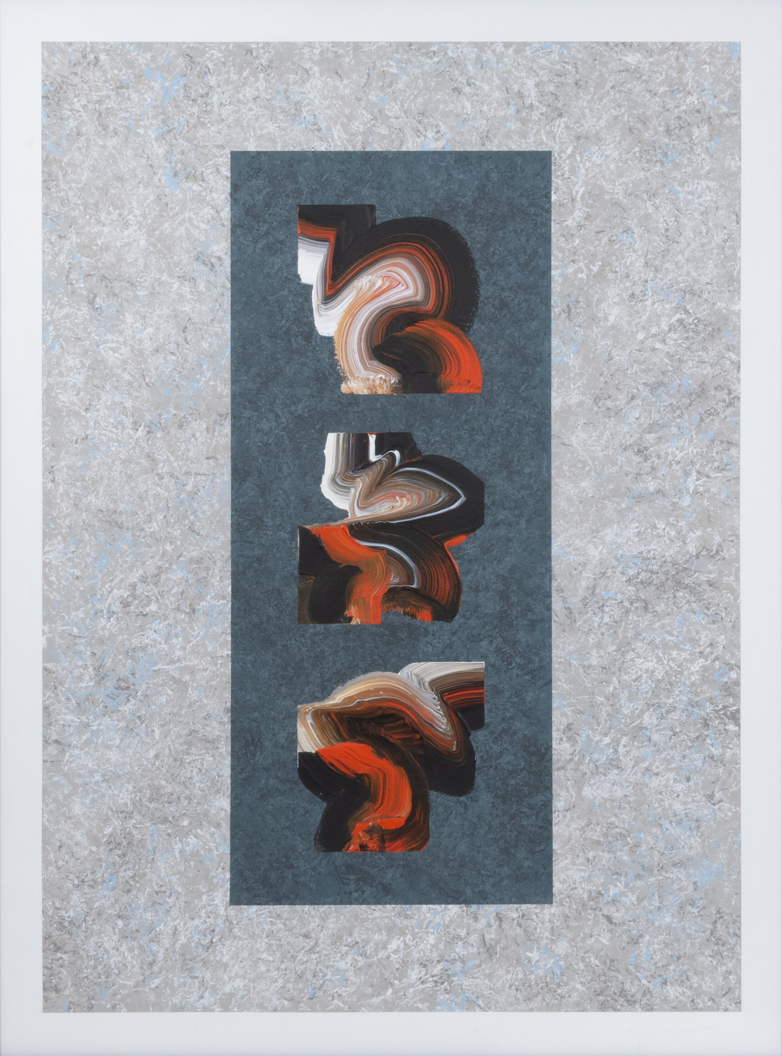 """Taliesin Emergence #5 , 2018, Acrylic on Arches Paper, 41.5"""" x 31.5"""".  Three calligraphic shapes in black, white and orange over a light grey textured background."""