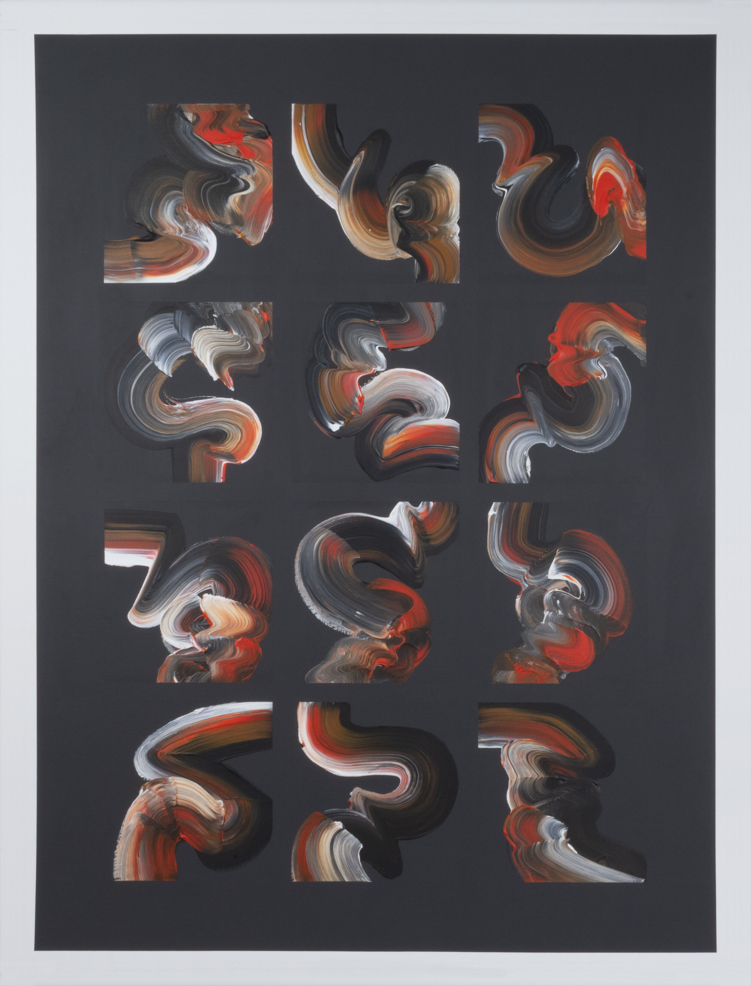 """Turbulence #1 , 2015, Acrylic on Canvas, 49.5"""" x 37.5"""".  Twelve calligraphic images in black, orange and white on a dark grey background."""