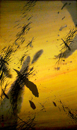 """Migration of Geese , 1999, Acrylic on Canvas, 60"""" x 36"""". Yellow skyscape with gray clouds and black splatters"""