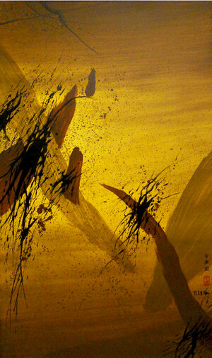 """Dragon in the Mountain , 1999, Acrylic on Canvas, 60"""" x 36"""". Yellow skyscape with wide calligraphic brown strokes and black splatters."""
