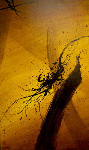 """Dragon Head , 1999, Acrylic on Canvas, 60"""" x 36"""". Yellow skyscape with wide calligraphic brown and black strokes and black splatters."""