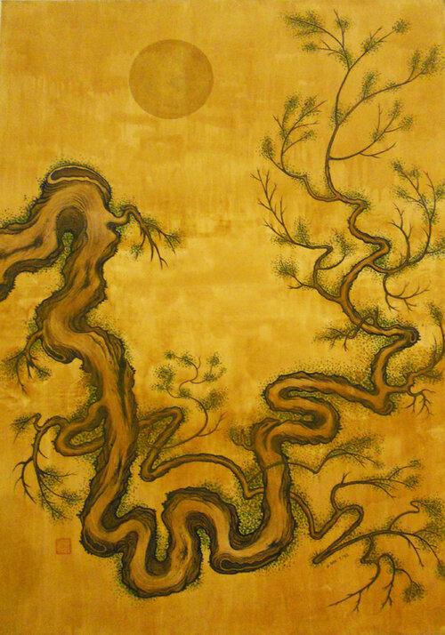 "Tree II , 1992, Acrylic on Canvas, 50"" x 36"". Pine tree with yellow moon and yellow background."
