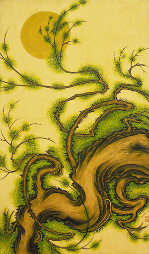 """Untitled , 1992, Acrylic on Canvas, 50"""" x 39"""". Pine tree with yellow moon and tan background."""
