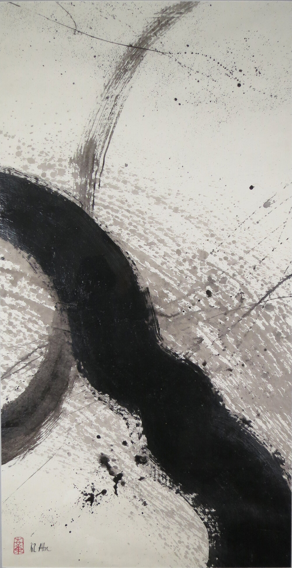 """Zen River , 1962, Acrylic on Canvas, 46.5"""" x 23.5"""". Abstract calligraphy with broad black lines and gray splatters on white background."""