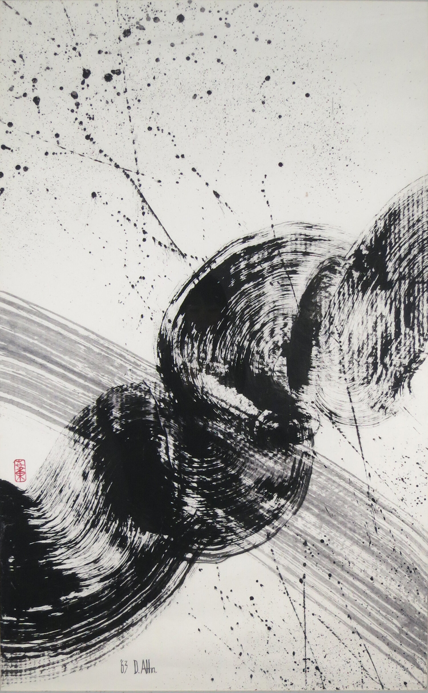 """Zen Dragon , 1962, Acrylic on Canvas, 45"""" x 28"""". Abstract calligraphy in circular motion with black strokes and gray splatters on white background."""