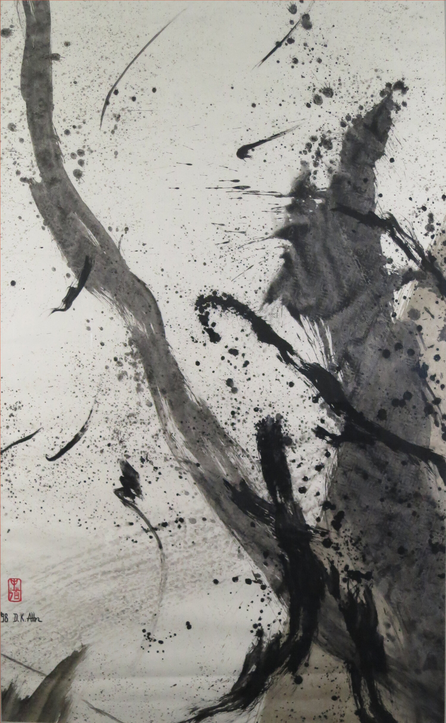 """Old Zen Tree , 1963, Acrylic on Canvas, 54.5"""" x 33"""". Abstract calligraphy with black splatters and wide black strokes going upward on white background."""