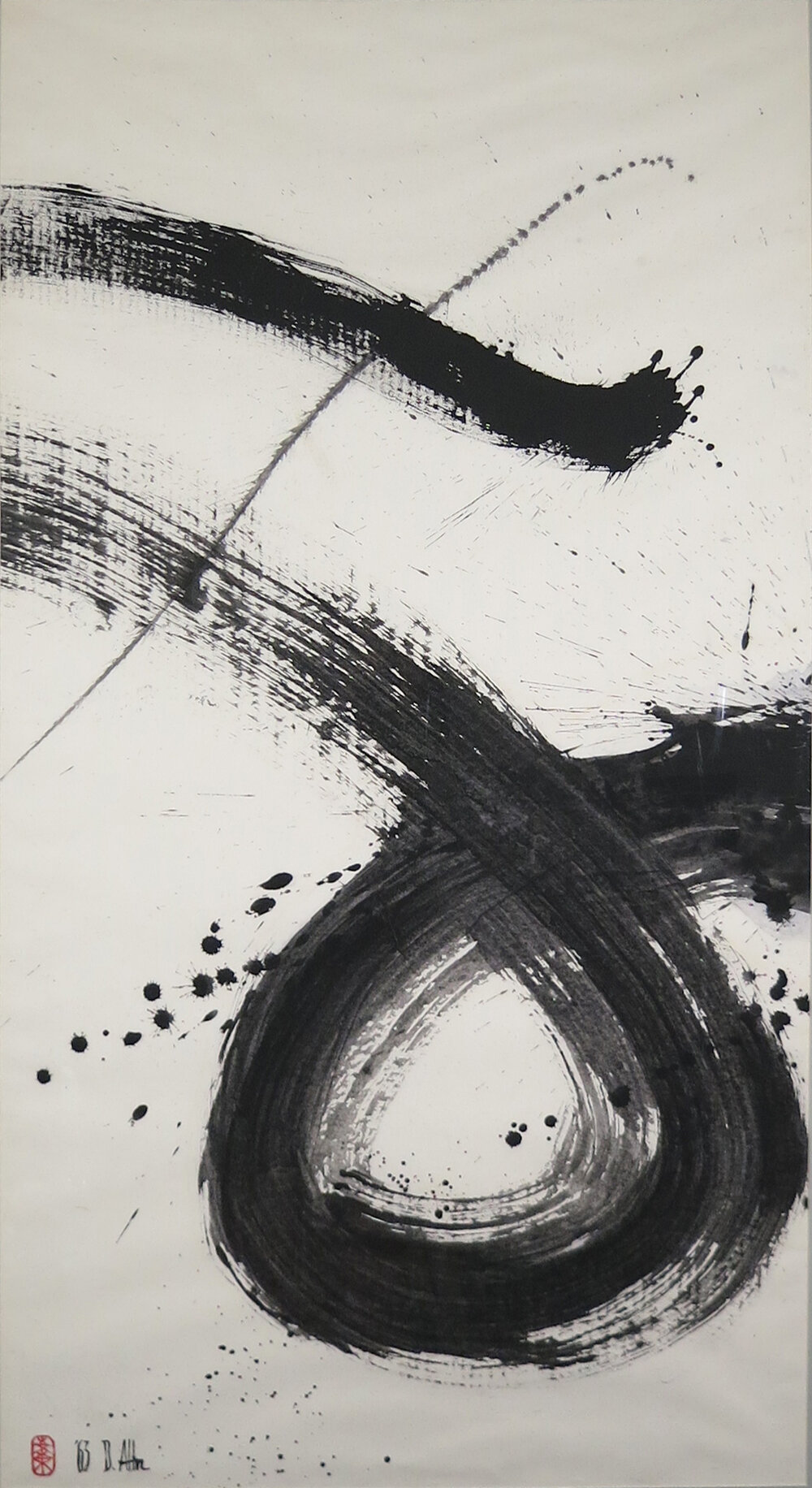 """Zen Circle II , 1963, Ink on Rice Paper, 52.5"""" x 28.5"""".  Abstract calligraphy with wide black strokes in circular motion and black splatters on white background."""