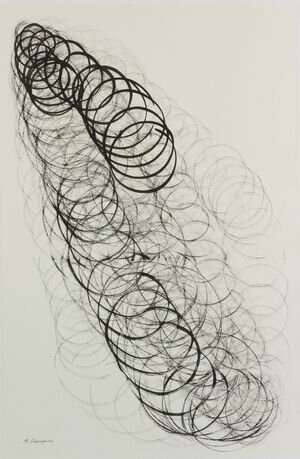 """SunSun II-0423, 2014, Sumi Ink On Washi paper, 35 2/5"""" × 23 3/5"""".  Bands of abstract calligraphic circles connected in a slinky-like manner with white background."""