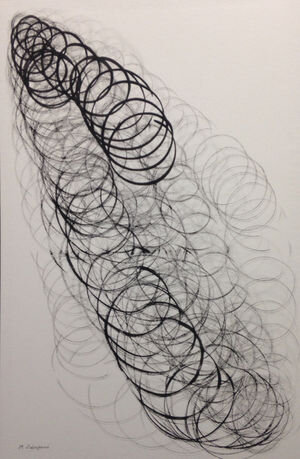"""Sunset ver2. 0423, 2014, Sumi ink on washi paper, 36 1/2"""" × 23 2/5"""".  Bands of abstract calligraphic circles connected in a slinky-like manner with white background."""