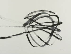 """Triple, 2014, Sumi Ink On Washi paper, 26 2/5"""" × 39"""".  Triangle shaped abstraction against white background."""