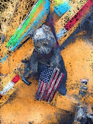"Flag Bear, 2016, Archival ink print on canvas, 48"" x 36"", Edition 4/10.  Abstract photograph gray teddy bear holding American flag with yellow abstract background."