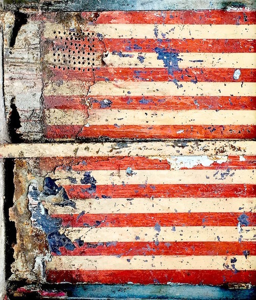 "Broken Flag, 2015, archival ink print on canvas, 48"" x 41"", Editions 4/10.  Abstract photograph partial view of two american flags."