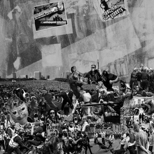 "Reclaim the Streets, 2010archival ink print, 48"" x 48"" Editions 4/10.  Abstract black and white photograph with collages of people and gray background."